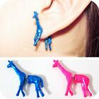 1pairs stereoscopic deer cute giraffe personality Fluorescent color stud earring