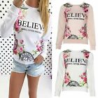 Fashion Womens Loose Pullover T Shirt Long Sleeve Cotton Tops Shirt Blouse Print
