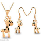 BD New Fashion Jewerly Gift Cute Exquisite Pony Pendant Neclace Earrings Suit