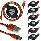 1M/3ft Retractable Braided Aluminum Micro USB Data&Sync Charger Cable fr Android