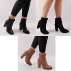 Womens Ankle Boots Chunky Heel Casual Chelsea Everyday Autumn Ladies Shoe Size