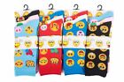 L068 LADIES GIRLS 12prs NOVELTY CARTOON FUNNY FACES ICONS DESIGN SOCKS EMOJI NEW