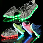 Flash LED Light Up Kids Boys Girls Knitted Trainers Luminous Sneaker Shoes UK