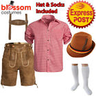 K222 Authentic German Brown Faux Suede Lederhosen Oktoberfest Beer Mens Costume
