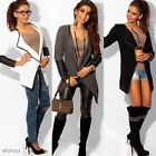 Women Outwear Leather Splice Long Sleeve Knitted Cardigans Casual Loose Coat Top