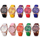 Women Girl Fashion Geneva Leather Band Stainless Steel Quartz Analog Wrist Watch