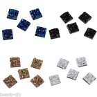 50PCs BD Uneven Surface Square Resin Embellishments Cabochons Jewelry 12x12mm