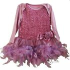 Baby Dusty Pink Rosettes Feather Long Sleeve Bodysuit Dress