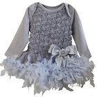 Baby Silver Gray Rosettes Feather Long Sleeve Bodysuit Dress