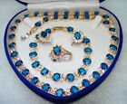 Pretty Blue Cubic Zirconia Sapphire Crystal Necklace Bracelet Earrings Ring Set