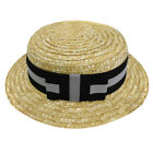 ADULTS STRAW BOATER HAT WITH BLACK AND SILVER BAND RIBBON FANCY DRESS ACCESSORY