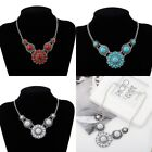 Tibetan Silver Genuine Turquoise Bib Collar Statement Chain Necklace Pendant HOT