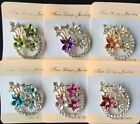 New Vintage Rhinestone colors gold flower Brooches For Women Pin Crystal Broches