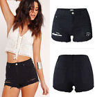 New Women Lady Black High Waist Hole Shorts Jeans Denim Lace detail Short Pants