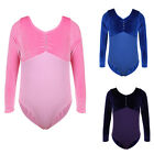 Girls Stage Show Gymnastic Cotton Leotards Dance Skate Long Sleeve