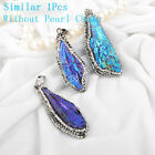1Pcs Rough Titanium Blue Black Tourmaline CZ Pendant/Necklace Silver AJA260