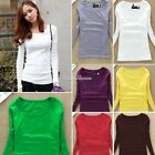 Womens Slim Shirt Long Sleeve T-shirt Pullover Cotton Crew Neck Tops Blouse