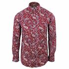 TROJAN RECORDS SHIRT MENS MAROON PAISLEY PATTERN LONG SLEEVE TOP
