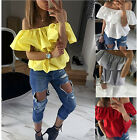 Kyпить New Womens Off Shoulder T-Shirt Summer Casual Loose Tops Strapless Party Blouse на еВаy.соm