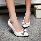 Womens New Pointy Toe Bowknot Pump Party Dress Shoes Stiletto High Heels Size