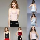 satin camisole tops - Womens silk Satin Camisole Cami Plain Strappy Vest Top Sleeveless Blouse Tank