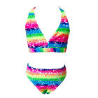 2PCS Girls Rainbow Bathe Bikini Swimsuit Sleeveless Surf Swimming Costume 3-12Y