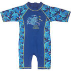 Boys Upf 50+ Uv Shark Print Spandex Bathers Rush Guard One Piece Middle Sleeve