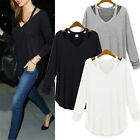 Women V-neck Plus Size Tops Loose Long Sleeve T-Shirt Casual Blouse Fashion NEW