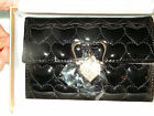 Omnia Crystal  Wallet French Size Black Heart Embossed Hanging Stone Heart 317