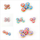 100pcs New Wholesale Mixed Stripes Rainbow Design Lampwork Glass European Bead C