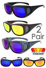 2 Pair Polarized Mirror Lens FIT OVER Sunglasses Cover Rx Glasses UV Protect