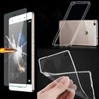 Tempered Glass / Ultra Thin Clear TPU Soft back Case Cover Skin For Huawei Phone