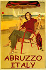 SUMMER TRAVEL ABRUZZO ITALY BEACH FASHION DANCING SAILING VINTAGE POSTER REPRO