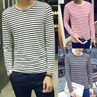 Fashion Cotton Men Slim Fit T-Shirt Long Sleeve Striped Casual Tops Blouse NW