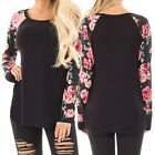 Fashion Womens Casual Long Sleeve Tops Shirt Ladies Loose Floral T-shirt Blouse