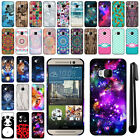 For HTC One M9 Design PATTERN HARD Protector Back Case Phone Cover + Pen