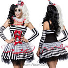 K149 Ladies Circus Harlequin Clown Cirque Jester Halloween Fancy Dress Costume