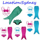 AU Seller Girls Swimmable Mermaid Tail Bikini Sets Swimsuit Bathe Swimwear 3-10Y