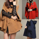 Fashion Women Cape Poncho Shawl Winter Wool Trench Coat Jacket Hoodies Outerwear
