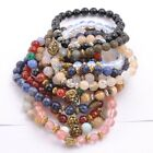 8MM Natural Gemstone Round FACETED Beads Lion Head Stretchy Bracelets