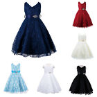 Girls Occasion Princess Satin Party Dress Flower Lace Dance Ball Sleeveless