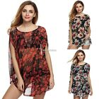 Fashion Women Ladies Casual O-neck Sleeve Batwing Floral Loose T-shirt N98B