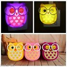 Cute Owl LED Light Nightlight Auto Control Sensor Lamp Kids Bedroom Wall Light