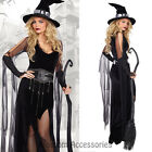 K241 Ladies Black Wicked Witch Countess Gothic Halloween Fancy Dress Costume