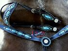 Horse Show Tack Bridle Western Leather Headstall Breast Collar Turquoise 8096