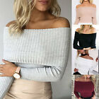 New Womens Ladies Jumper Ribbed Bardot Off Shoulder Long Sleeve Fitted Top 6-16