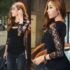 Stylish Women Black Chiffon Lace Long Sleeve Slim T-Shirt Casual Blouse S-XXL