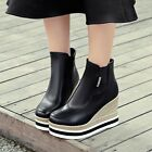 New Womens Fashion Round Toe Weaving Wedge Heels Platform Shoes Ankle Boots
