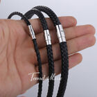 4/6/8mm Brown/Black Leather Mens Necklace Choker Cord Rope 16-22 inches image