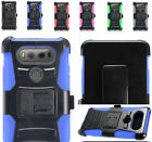 2Layer Rugged Case Cover w/Stand+Holster Belt Clip For LG V20 LTE Phone